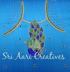 SRI AARI CREATIVES: Peacock design - Aari work for kids top