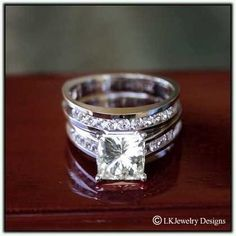 1.70 CT MOISSANITE PRINCESS & ROUND CHANNEL ENGAGEMENT WEDDING SET RINGS