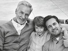 Grandfather, Father and Son. Men With Grey Hair, Father And Son, Worlds Of Fun, Male Models, Gentleman, Sons, Daddy, Handsome, Mens Fashion