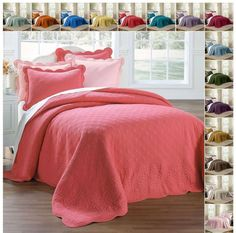 Cotton Oversized Quilted Bedspread with Scalloped Border in Twin Full Queen King #Contemporary