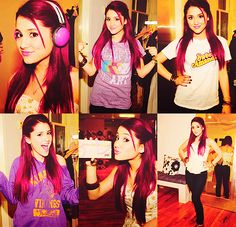 I think I have this but I LOVE THIS HAIRSTYLE! And the color I've said before that I wish she kept it red even though it was just for Victorious Ariana Grande Cat, Ariana Grande Pictures, Cat Valentine Outfits, Famous Celebrities, Celebs, Cat Valentine Victorious, Writers Notebook, Alternative Hair, Dangerous Woman