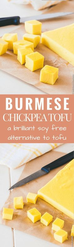 Looking for a soy free alternative to tofu? This Burmese Chickpea Tofu is easy to make and is a healthy and delicious source of protein. Great in salads, stir fries and soups.   Get the recipe at Delicious Everyday: