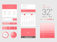 Freebie PSD: Flat / UI Kit - UI Kits - Ideas of UI Kits - Free flat design-weather calendar video player Design Web, App Ui Design, User Interface Design, Flat Design, Dashboard Interface, Dashboard Design, Brochure Design, Flat Ui, Ui Kit