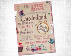 Alice in onederland birthday invitation by sweetbeedesignshoppe alice in wonderland birthday invitation printable alice in onederland birthday invite first birthday filmwisefo