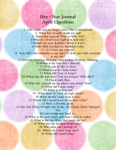 Cup of Delight: DIY Five-Year Journal: April Questions