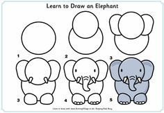 Learn to draw an elephant. This site is great for scrapbooking. - Learn to draw an elephant. This site is great for scrapbooking. This would be cute in paper pieci - Easy Animal Drawings, Easy Drawings For Kids, 3d Drawings, Art For Kids, Simple Drawings, Easy Animals, Zoo Animals, How To Draw Animals, Drawing Lessons