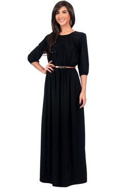 4a675e43d0 IVY - Long 3 4 Sleeve Pleated Dressy Modest Peasant Maxi Dress Gown
