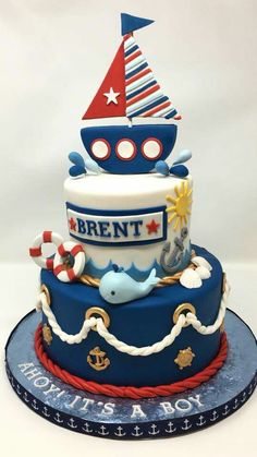 Anchor Birthday Cakes, Baby Birthday Cakes, Ocean Cakes, Beach Cakes, Nautical Cake, Nautical Theme, Ballerina Cakes, Summer Cakes, Novelty Cakes