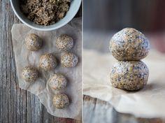 Vegan and Gluten Free Chia Protein Bliss Balls - The Minimalist Vegan Vegan Snacks, Healthy Snacks, Vegan Recipes, Snack Recipes, Vegan Sweets, Vegan Food, Healthy Eats, Protein Bites, Protein Ball