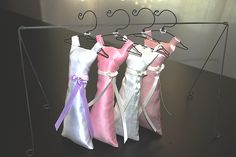 """A perfect bridal shower favor or bridesmaid gift, our handmade bridesmaid dress sachets are always a hit! Fun bridesmaid dress sachets. Sachets measure 6 1/2"""" x 2"""" and are stuffed with top quality lavender. The dresses are made from satin and accente"""