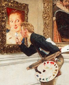 Norman Rockwell (American, The Art Critic, Cover illustration for The Saturday Evening Post, April Oil on canvas. 39 x 36 in. From the permanent collection of the Norman Rockwell Museum. Norman Rockwell Prints, Norman Rockwell Paintings, Peintures Norman Rockwell, Critique D'art, Illustration Art, Illustrations, American Illustration, Oeuvre D'art, American Artists