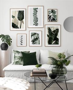 Create your wall of frames with Desenio Clem Around The Corner plant pattern urban minimalist Scandinavian jungle atmosphere in the white living room can Leaf Wall Art, Canvas Wall Art, Rooms Home Decor, Bedroom Decor, Desenio Posters, Inspiration Wand, White Couches, Interior Desing, Minimalist Scandinavian
