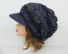 Crochet Slouchy Beanie With Brim - Newsie Cap - Hat With Visor - Newsboy Hat - Winter Hat For Women - Men's Visor Beanie - Paperboy Cap