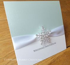 Personalised Winter Snowflake Wedding Invitation with Crystal Snowflake and Satin ribbon Snowflake Wedding, Christmas Wedding, Wedding Wishes, Wedding Cards, Frozen Wedding Theme, Frozen Theme, Crystal Snowflakes, Winter Wedding Decorations, Winter Wedding Invitations