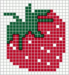 A Juicy Strawberry. - A Juicy Strawberry. Cross Stitch Fruit, Mini Cross Stitch, Modern Cross Stitch, Cross Stitch Flowers, Cross Stitch Charts, Cross Stitch Alphabet Patterns, Cross Stitch Designs, Knitting Charts, Baby Knitting Patterns