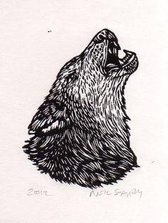 lino//cut//wolf//howling//