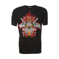 DSQUARED2 'Marioska for Hell' Print T-Shirt (€105) ❤ liked on Polyvore featuring men's fashion, men's clothing, men's shirts, men's t-shirts, black, mens cotton t shirts, mens short sleeve shirts, mens cotton shirts, mens leopard print t shirt and mens patterned t shirts