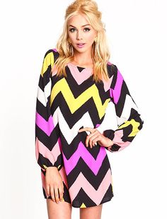 Chevron Bell Sleeves Dress...if this is not too short I'd totally wear this with fun opentoed heals or boots.