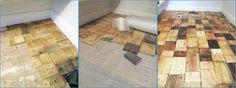 Anota los 6 pasos que han seguido para realizar este original y resistente suelo de palets.