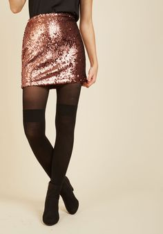 Shimmer Fling Mini Skirt. Have a thing for sparkles? #copper #modcloth