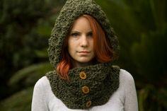 Cowl Knit Hood w/ wooden buttons