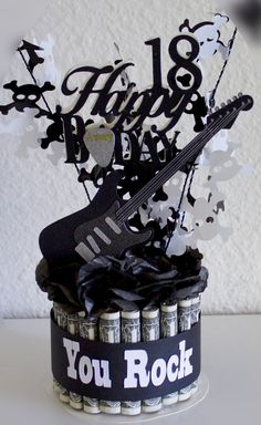 Money Cake Happy Birthday Guitar Rock Star by NewECreativeGifts