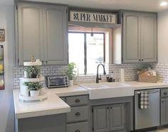 96 Incredible Farmhouse Gray Kitchen Cabinet Design Ideas