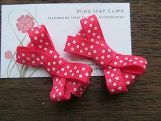 Pink polka dot hair clips