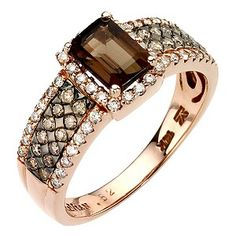 LeVian 14CT Strawberry Gold 0.50CT Diamond & Quartz Ring - Product number 8068550