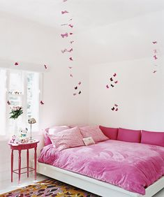 In Alexandra von Furstenberg's California home, seen here in 2007, daughter Talita's pink bedroom is decorated with paper butterflies from London.