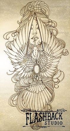 Raven woman tattoo design