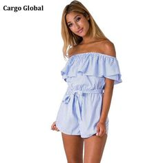 77844512d95 Ruffles Slash Neck Beach Playsuits Summer Women Blue Striped Jumpsuits  Girls Sexy Casual Playsuit Overalls with