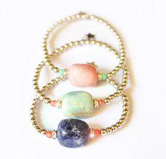 $24 gemstones bracelet,2013 jewelry,pink,green,blue,pulseras piedras,amazonite,pink quartz,lapis