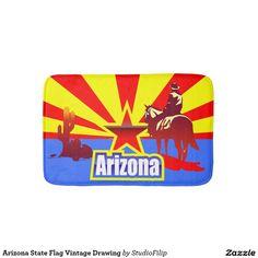 Arizona State Flag Vintage Drawing Bathroom Mat