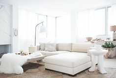 A stunning white living room styled by Jeremiah Brent