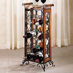 Wrought Iron Corner Wine Rack Liquor Storage Cabinet