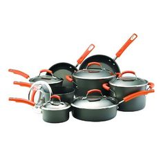 Durable and stylish, the Rachael Ray Hard Anodized II Nonstick 14 Piece Cookware Set is the perfect gift for a housewarming party or anniversary. This cookware set includes 1 and 2 quart covered saucepa Rachel Ray, Rachael Ray Cookware Set, Safest Cookware, Pots And Pans Sets, 2. Stock, Pan Set, Nigella, Bakeware, The Ordinary
