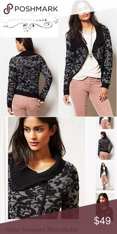 """Anthropologie Moth Amur Jacquard Moto Jacket $148 🦄 Size XS. Moth from Anthropologie. Originally $148. """"Endlessly versatile and totally timeless, the moto jacket is a wardrobe staple on par with your perfectly broken-in jeans and go-to boots. We're loving twists on the classic, such as this jacquard jacket knit version from Moth. A natural with denim, but don't hesitate to pair it with a flouncy frock, either. 🦄 Anthropologie Jackets & Coats"""