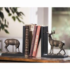 Deer Bookends - Want a nice classy way to keep your most prized books stable? Then this pair of bookends featuring a buck and a doe is the perfect solution.