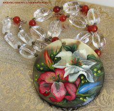 Колье с подвеской Лилия Сердолик Хрусталь Ожерелье с кулоном Цветы