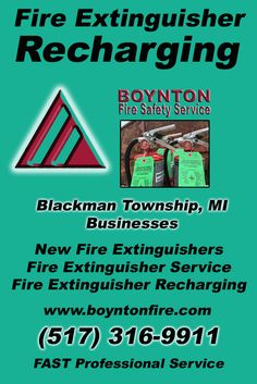 Fire Extinguisher Recharging Blackman Charter Township (517) 316-9911.. Local Michigan Businesses you have found the complete source for Fire Protection. Fire Extnguishers, Fire Extinguisher Service.. We're got you covered..