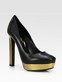 Saint Laurent Angie Bicolor Leather Platform Pumps