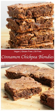 Cinnamon Chickpea Blondies - Soft and fudgy centers with a bit of a crackly top. Healthier than your average blondie, these are dairy free, gluten free and oil free! They are so delicious and addicting!! You will NOT taste the chickpeas, I promise!! #vegan #blondies #glutenfree