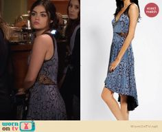 Aria's blue floral dress with lace insets on Pretty Little Liars. Outfit Details: http://wornontv.net/27014 #PLL #fashion