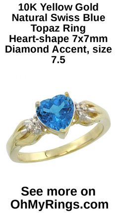 10K Yellow Gold Natural Swiss Blue Topaz Ring Heart-shape 7x7mm Diamond Accent, size 7.5. This beautiful ring is solid 10K Gold and made in the USA, with Genuine Diamonds, Natural Gemstones. The Quality is Outstanding and yet the Price is Very Reasonable. We carry a wide range of sizes, from 5 to 10 (Including Half Sizes), and they are readily selectable from the drop-down menu. Smaller or Larger Sizes may also be available for a nominal fee. Please feel free to contact us for any inquiries.