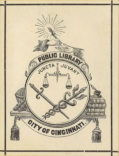 Bookplate of the Public Library City of Cincinnati   Description: States, 'Public Library City of Cincinnati' with motto 'Juncta Juvant;' features one hand passing a torch to another, a scale, a sword, a caduceus, a stack of books, an inkwell, and a globe. Unsigned.     Format: 1 print, col., 8 x 6 cm.     Source: Pratt Institute Libraries, Special Collections 197c (sc00750)     Pratt Libraries Website  For inquiries regarding permissions and use fees, please contact…