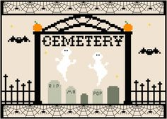 Halloween Village Cemetery Cross Stitch Pattern by EpicStitchery