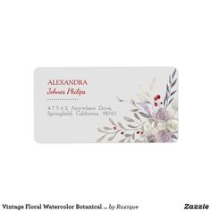 Shop Vintage Floral Watercolor Botanical Address Label created by Ruxique. Vintage Labels, Vintage Shops, Custom Address Labels, How To Be Outgoing, Vintage Floral, Watercolor Flowers, Place Card Holders, Templates, Prints
