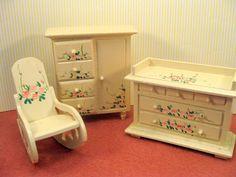 dollhouse furniture | This vintage miniature dollhouse wood furniture nursery set is ...