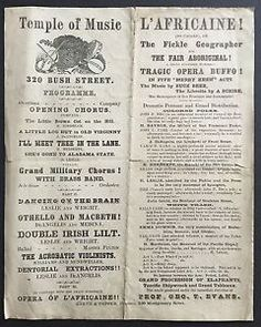 Original early San Francisco California Theater Poster. For a burlesque production of L'Africaine performed in San Francisco at the Temple of Music, around 1865.   L'AFRICAINE (SO CALLED), OR  The Fickle Geographer and  THE FAIR ABORIGINAL!  A GRAND SUP-POSED HUMOROUS  TRAGIC OPERA BUFFO
